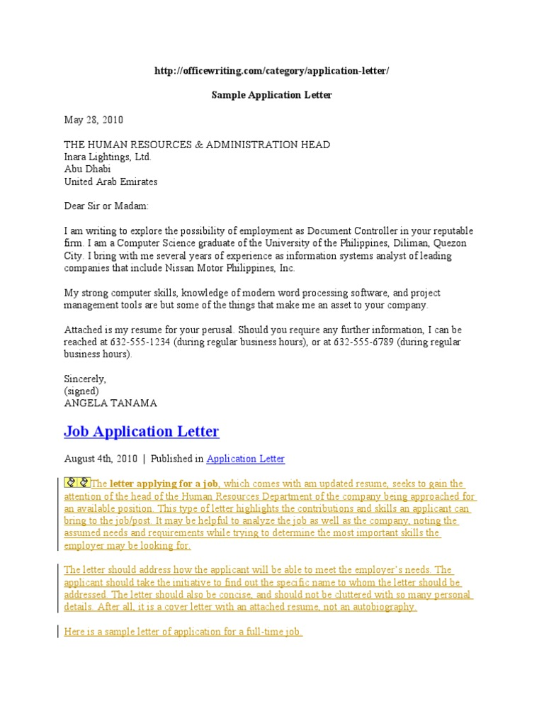 Example Application Letter Travel Visa Graduate School