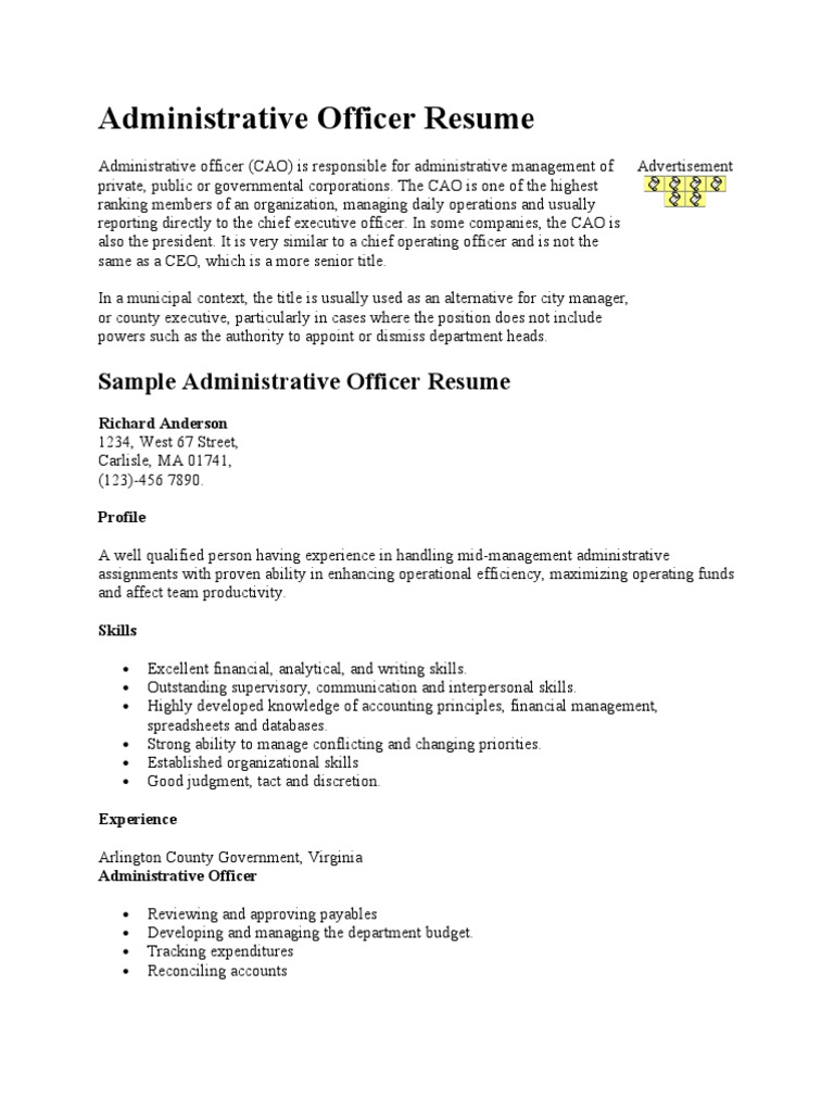 administrative officer resume 1  arlington county  chief