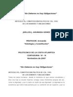 SIN DEBERES NO HAY OBLIGACIONES, ensayo (ART 95. Axiología-Constitución)