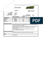 Standardized Recipe and Cost Card