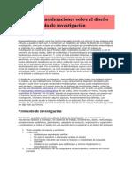 Algunas consideraciones sobre el diseño del protocolo de investigación