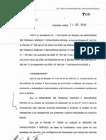Resolución MTEySS N° 708-10 - Acciones de Entrenamiento para el Trabajo