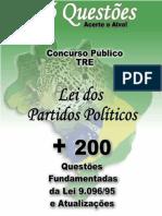 E-BOOK LEI DOS PARTIDOS POLÍTICOS- LEI 9.096_95 - 200 QUESTÕES