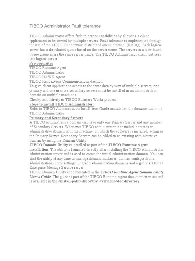 Tibco Administrator Fault Tolerance Fault Tolerance Server