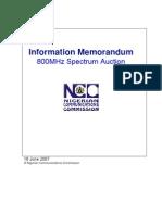 Published Information Memorandum for 800MHz Spectrum Auction 190607