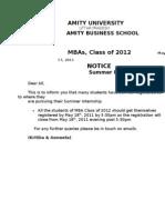 summer Internship Registration Closure