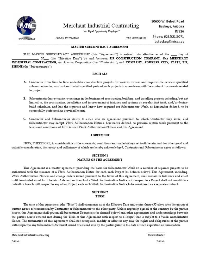 Master subcontractor agreement indemnity general contractor platinumwayz