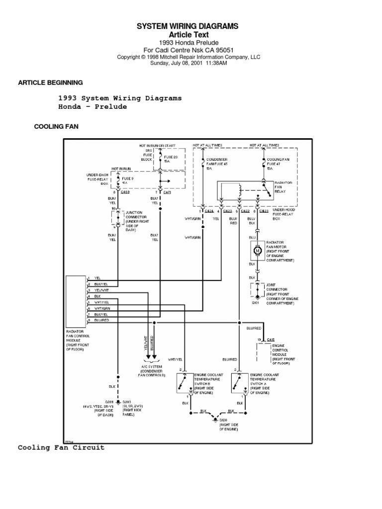 Wire Diagram Honda Prelude