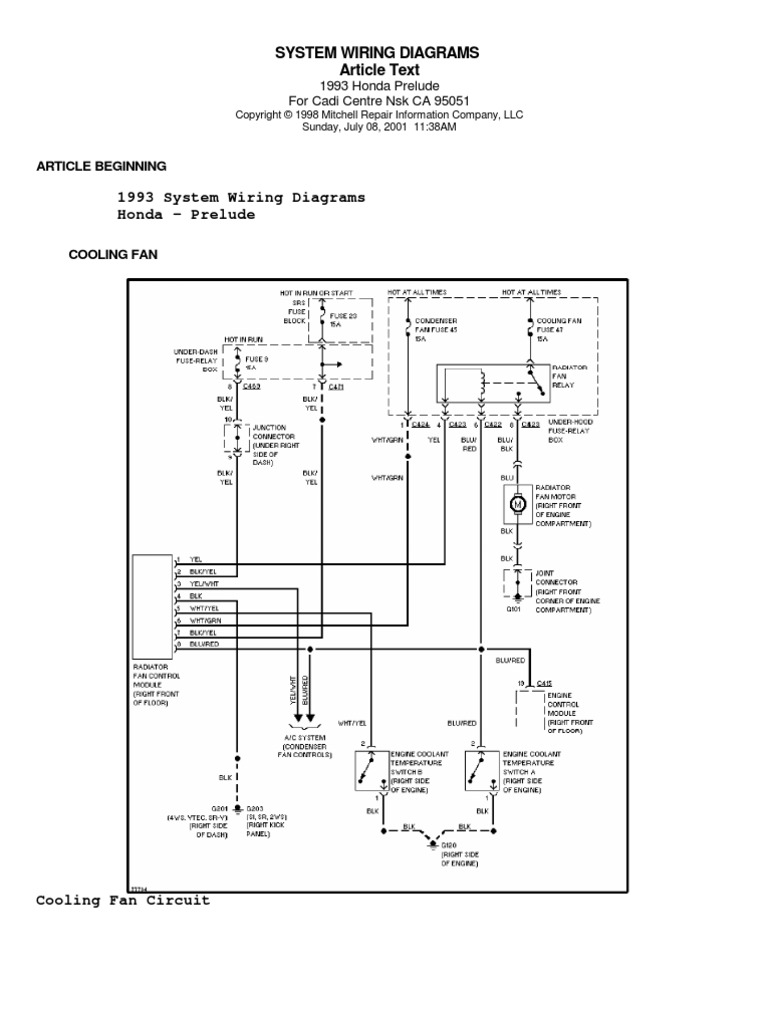 honda prelude iv (92 96) system wiring diagrams 1999 Honda Passport Wiring Diagram