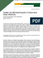 VERBA DE RECONSTRUÇÃO É DESVIADA PARA PROPINA — Portal ClippingMP