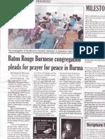 Baton Rouge Burmese congregation pleads for prayer for peace in Burma