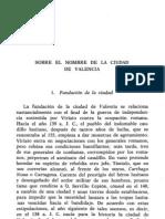 Dolç, Sobre el nombre de la ciudad de Valencia, EC 64 (1971)