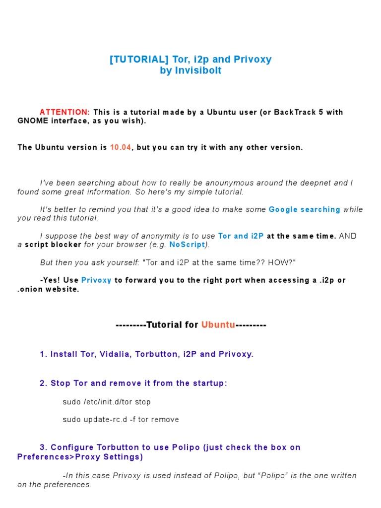 Tutorial] Tor, i2P and Privoxy | Tor (Red de Anonimato) | Internet