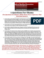 5 Questions For Obama
