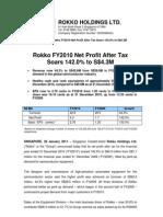 Rokko FY2010 net profit after tax foars 142.0% to S$4.3M