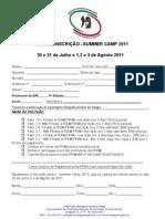 Ficha de inscrição summer camp 2011