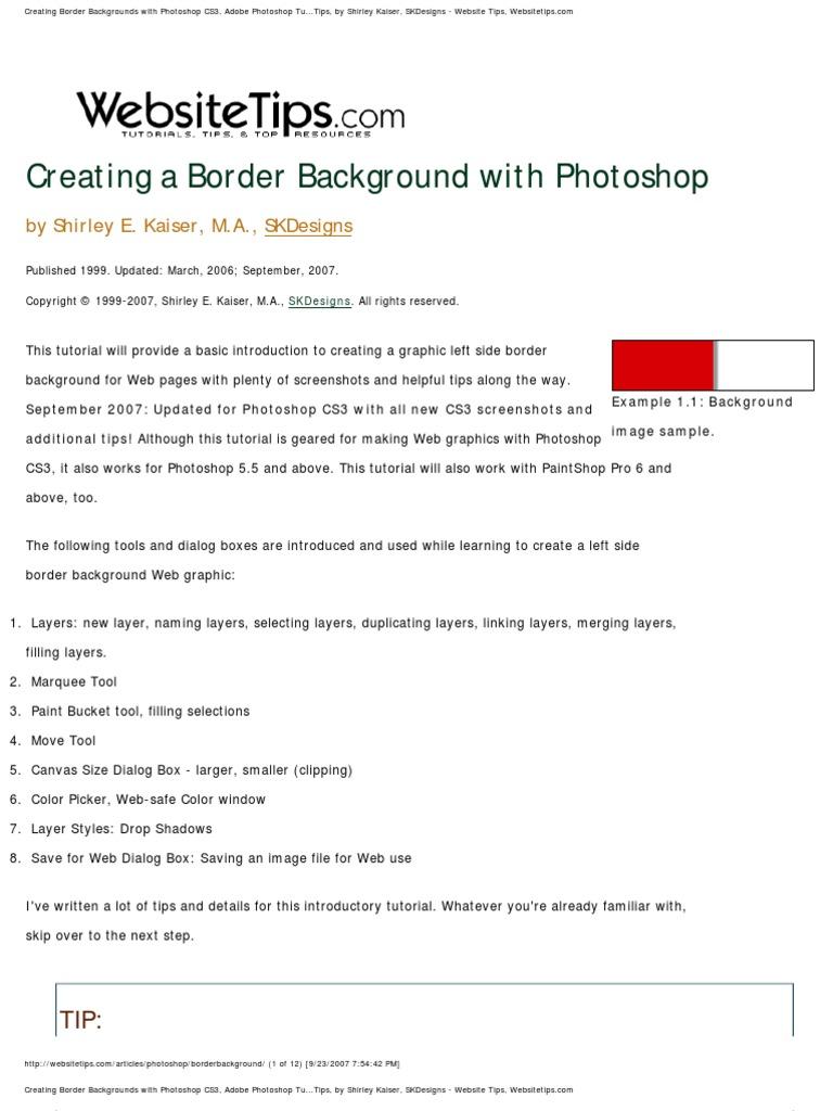 Photoshop cs3 border bg tutorial adobe photoshop computer graphics baditri Gallery