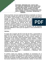 Comunicado frente a los hechos violentos en el territorio del Cauca