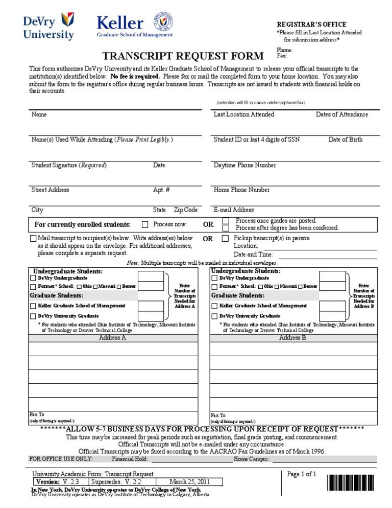 DeVry Keller Transcript Request Form   Address (Geography)   Academia