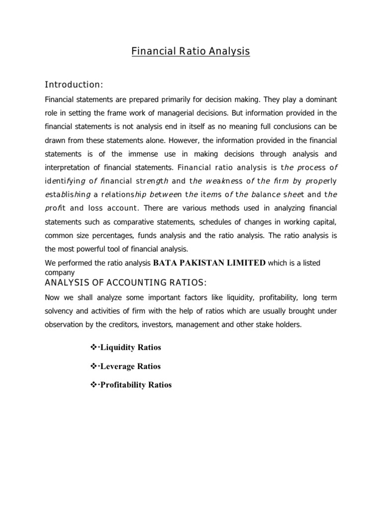 Financial Ratio Analysis Assignment Equity Finance – Financial Ratios Analysis
