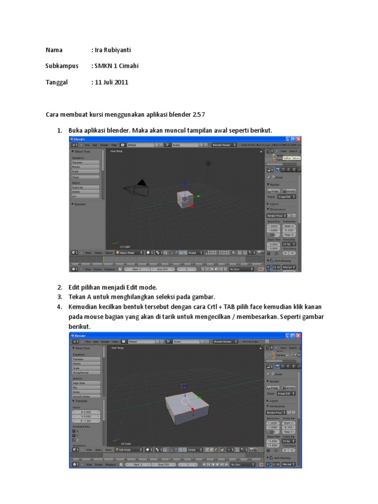 Membuat Gambar 3d Menggunakan Aplikasi Blender