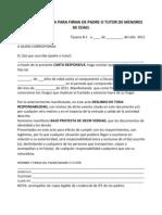 Carta Responsiva Para Firma de Padre o Tutor de Menores de Edad