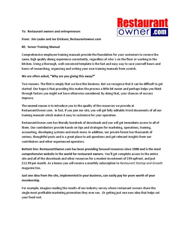 Server Training Manual Restaurant Owner | Waiting Staff | Restaurants
