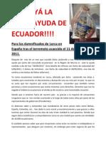 Carta de Damnificados de Lorca