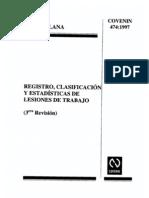 COVENIN 474-97 (Registro, Clasificacion y Estadisticas de Lesiones en el Trabajo)