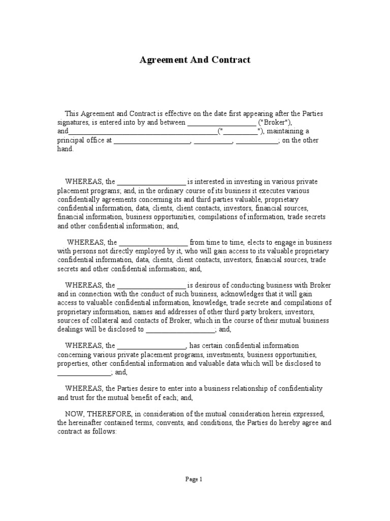 Broker fee contract trade secret confidentiality platinumwayz