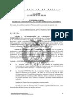 Ley 129 Autorizacion a YPFB para suscribir el Contrato de Exploracion y Explotacion del Area Almedros en Santa Cruz