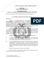 Ley 132 Autorizacion a YPFB para suscribir el Contrato de Exploracion y Explotacion del Area Cupecito, Santa Cruz con la Empresa GTLI