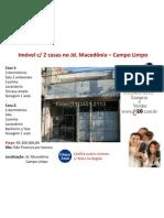 Imóvel com 2 casas 2autos Jd. Macedônia - São Paulo Zona Sul - SP Venda