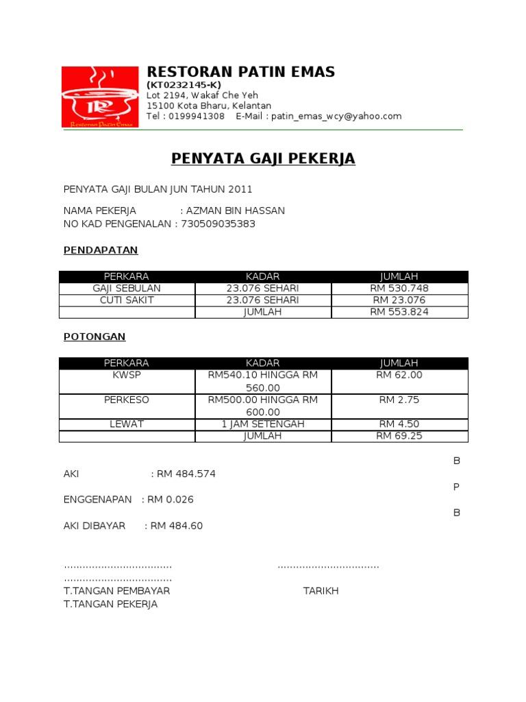 Contoh Slip Gaji Pekerja Swasta Excel Malaysia