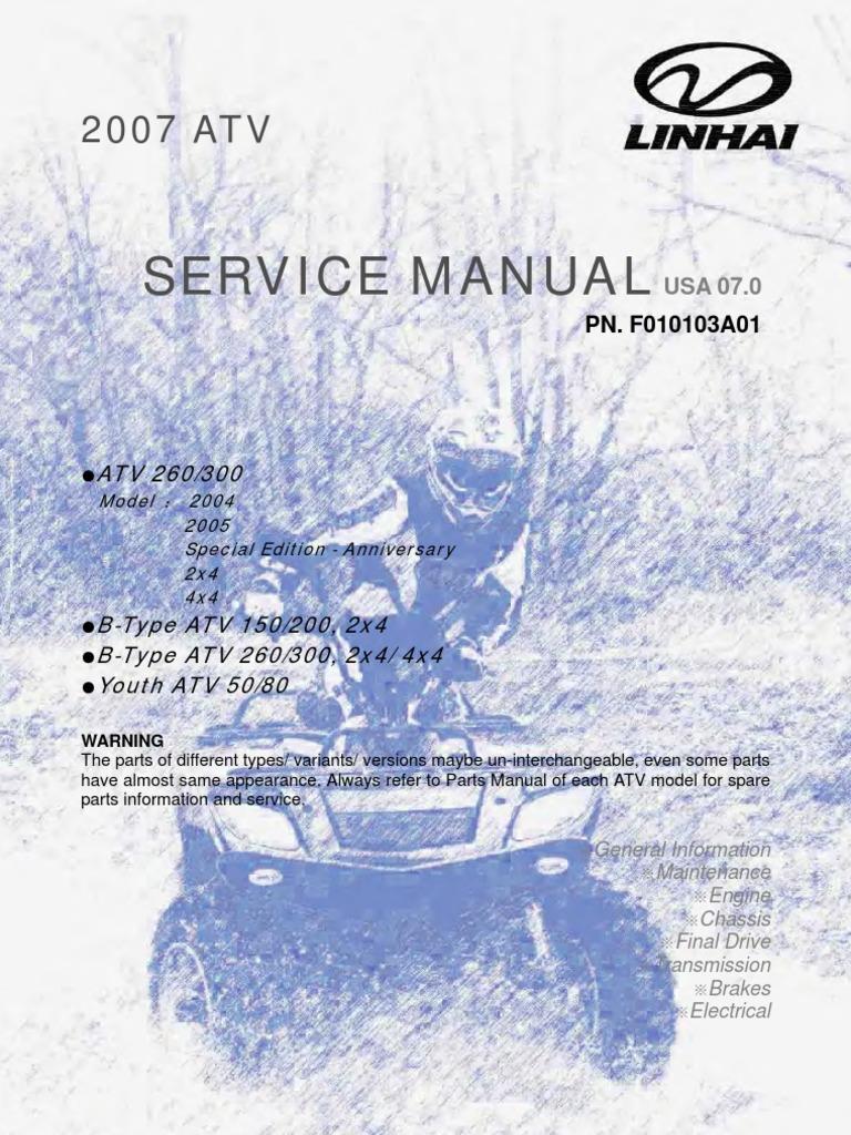 linhai atv engine service manual up to 300cc 1 tire rh scribd com linhai atv 300 4x4 service manual Linhai 260 ATV 4WD