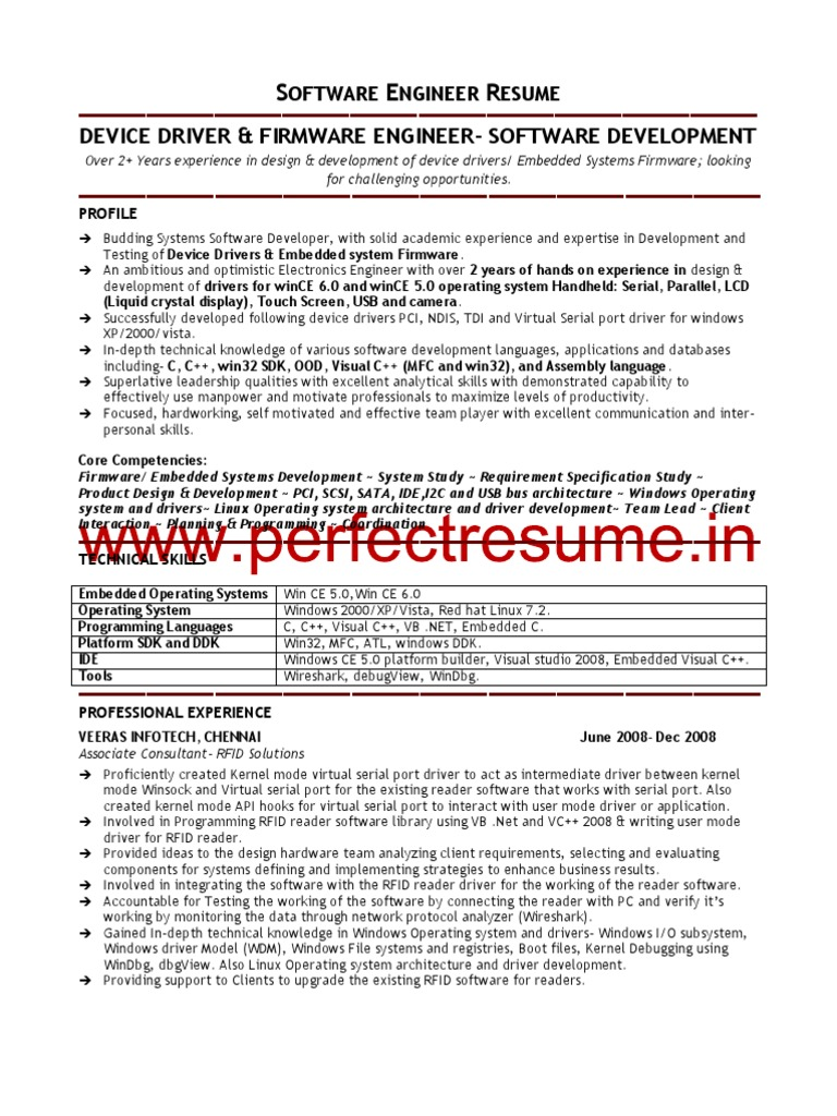 software engineer resume sample device driver operating system