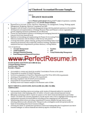 Finance Manager Chartered Accountant Resume Sample Audit