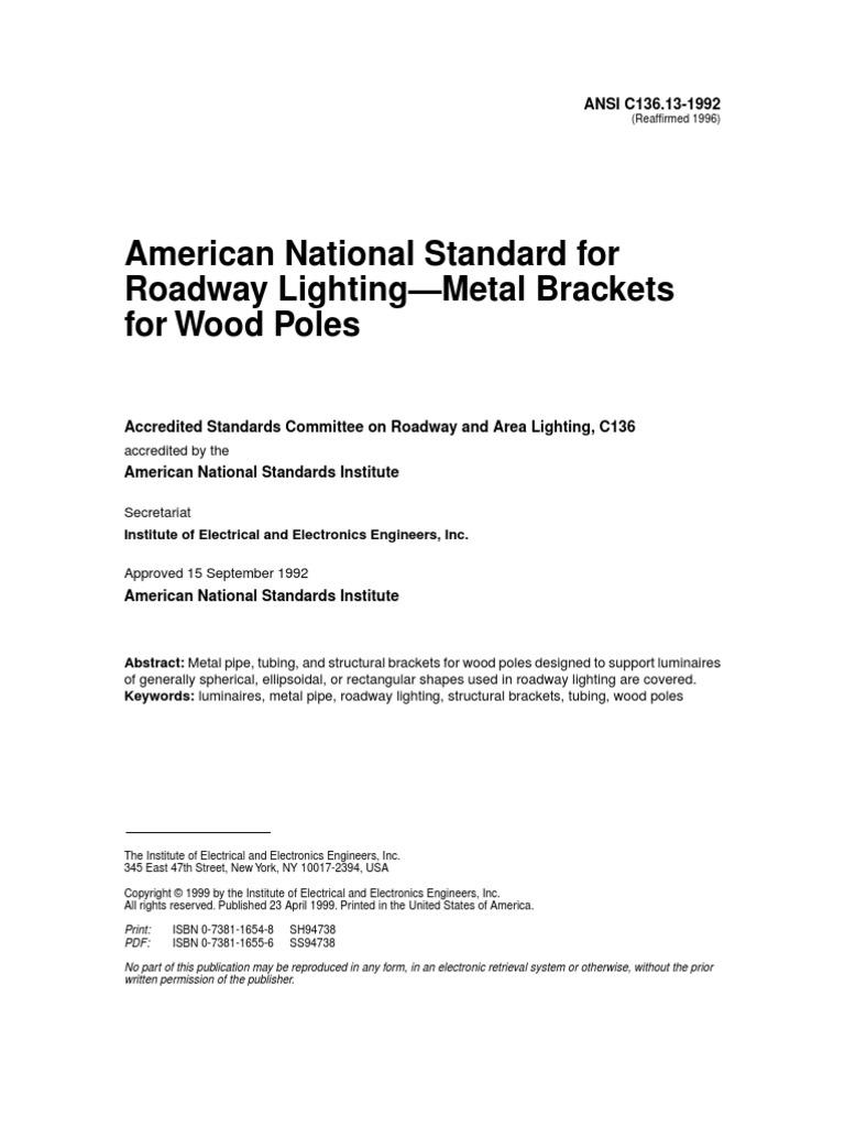 American National Standard for Roadway Lighting - Metal