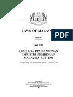 Act 520 - Cidb Act, 1994