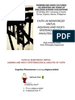 Faith as Reinforced Virtue (Lecture presented at the 1st International Philosophy Congress in the Philippines hosted by UST)