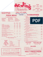 Mr Jim's Pizzeria Flyer From 1986