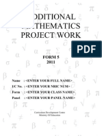Additional Mathematics Project Work - Hari Sample
