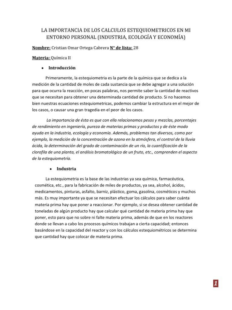 Bonito Introducción A La Hoja De Trabajo EstequiometrÃa Composición ...