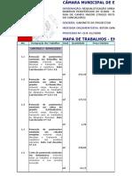 Mapa de trabalhos e medições