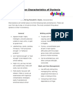 37 Common Characteristics of Dyslexia