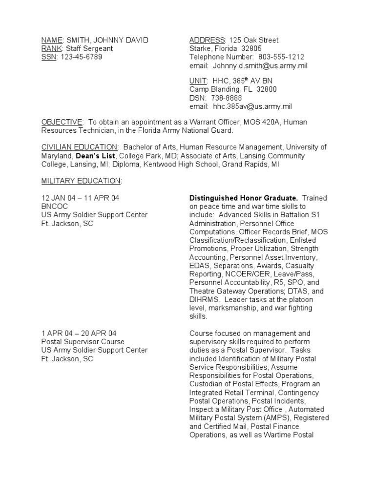 Resume Sample Soldier | Warrant Officer (United States) | Officer ...