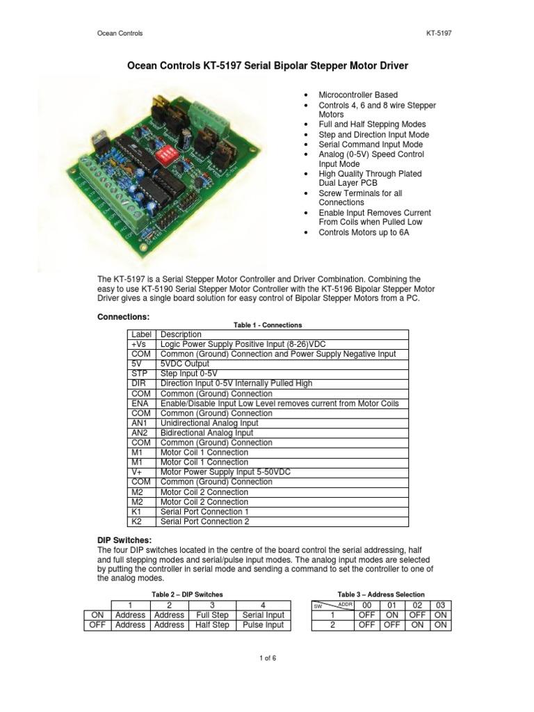 Kt 5197 Serial Bipolar Driver Manual Acceleration Electrical Stepper Motor Control Equipment