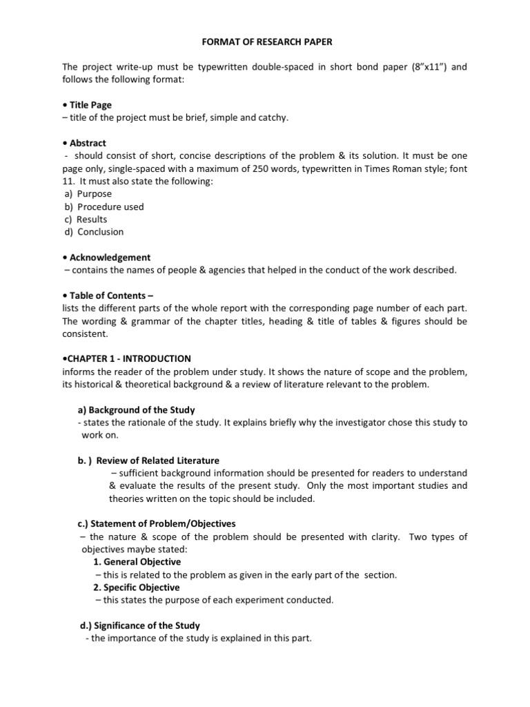 Format of Research Paper  Scientific Method  Experiment