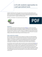 Difference of code analysis approaches in compilers and specialized tools