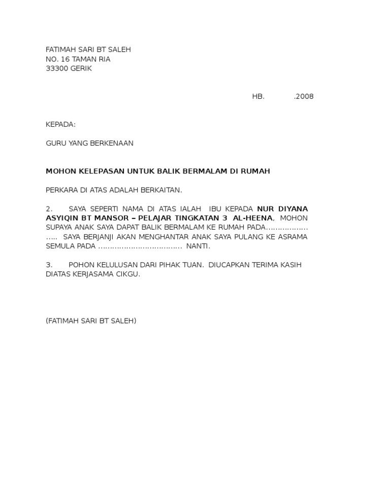 Surat Rasmi Notis Keluar Rumah - Rasmi H